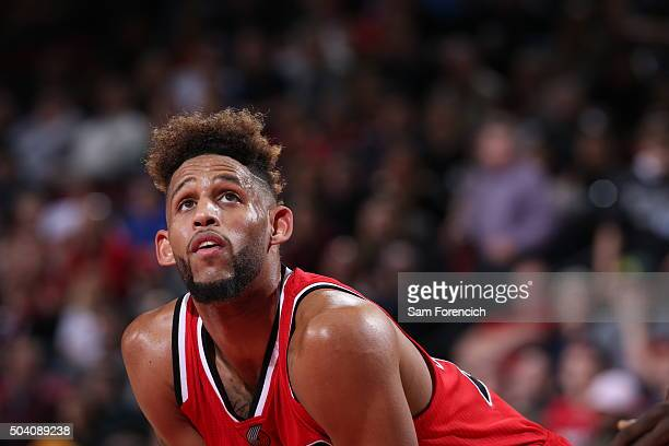 Allen Crabbe of the Portland Trail Blazers is seen during the game against the Golden State Warriors on January 8 2016 at the Moda Center in Portland...