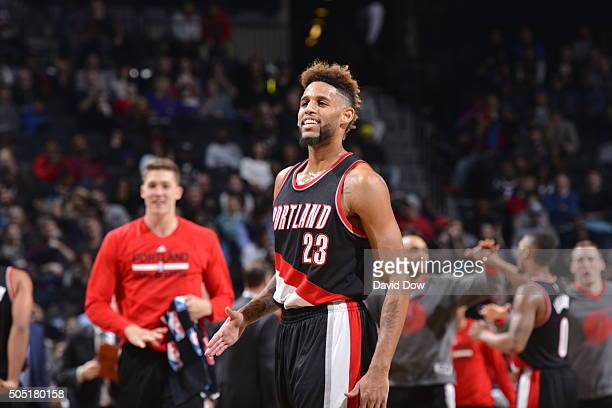 Allen Crabbe of the Portland Trail Blazers looks on against the Brooklyn Nets on January 15 2015 at Barclays Center in Brooklyn New York NOTE TO USER...