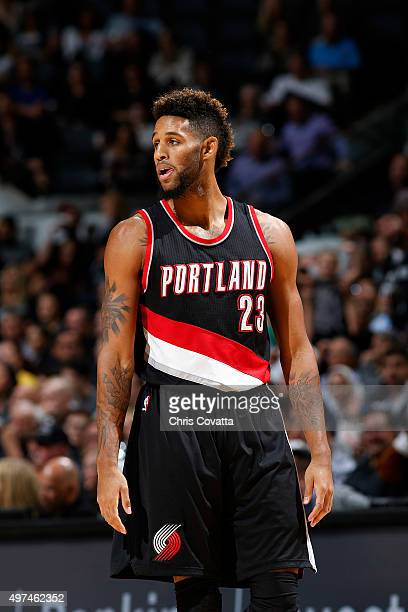 Allen Crabbe of the Portland Trail Blazers looks on during the game against the San Antonio Spurs on November 16 2015 at the ATT Center in San...