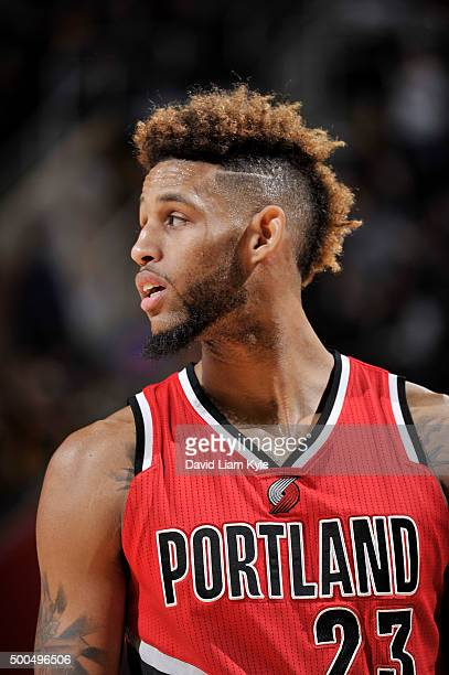 Allen Crabbe of the Portland Trail Blazers looks on during the game against the Cleveland Cavaliers on December 8 2015 at Quicken Loans Arena in...