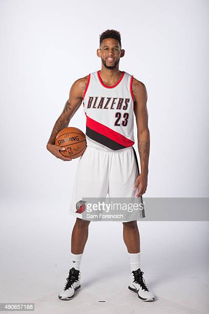 Allen Crabbe of the Portland Trail Blazers poses for photos during the annual Media Day September 28 2015 at the Moda Center in Portland Oregon NOTE...
