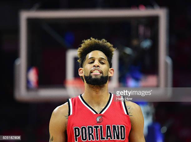 Allen Crabbe of the Portland Trail Blazers reacts as he leaves the court with his team trailing during the first half in Game Five of the Western...