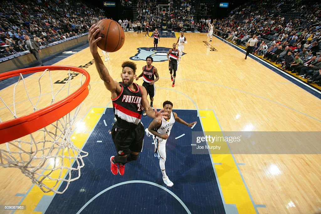 <a gi-track='captionPersonalityLinkClicked' href=/galleries/search?phrase=Allen+Crabbe&family=editorial&specificpeople=7447799 ng-click='$event.stopPropagation()'>Allen Crabbe</a> #23 of the Portland Trail Blazers shoots a lay up against the Memphis Grizzlies on February 8, 2016 at FedExForum in Memphis, Tennessee.