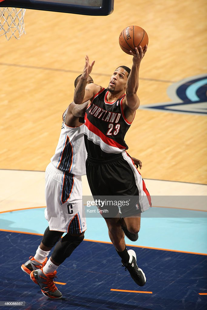 Allen Crabbe #23 of the Portland Trail Blazers shoots against the Charlotte Bobcats at the Time Warner Cable Arena on March 22, 2014 in Charlotte, North Carolina.