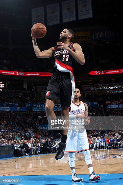 Allen Crabbe of the Portland Trail Blazers shoots against the Oklahoma City Thunder on April 13 2015 at Chesapeake Energy Arena in Oklahoma City...