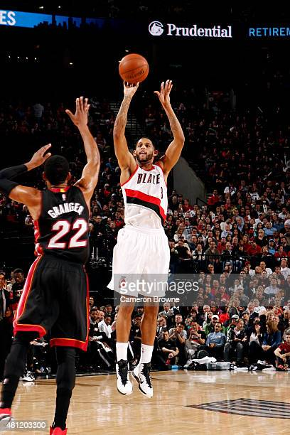Allen Crabbe of the Portland Trail Blazers shoots against the Miami Heat on January 8 2015 at the Moda Center Arena in Portland Oregon NOTE TO USER...