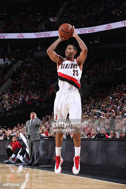 Allen Crabbe of the Portland Trail Blazers shoots against the Minnesota Timberwolves on November 30 2014 at the Moda Center in Portland Oregon NOTE...