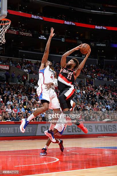 Allen Crabbe of the Portland Trail Blazers shoots the ball against the Los Angeles Clippers during a preseason game on October 22 2015 at STAPLES...