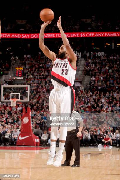 Allen Crabbe of the Portland Trail Blazers shoots the ball against the Milwaukee Bucks on March 21 2017 at the Moda Center in Portland Oregon NOTE TO...