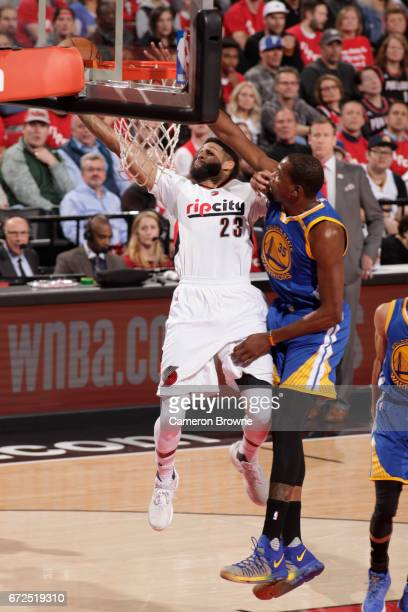 Allen Crabbe of the Portland Trail Blazers shoots the ball against the Golden State Warriors in Game Four of the Western Conference Quarterfinals of...