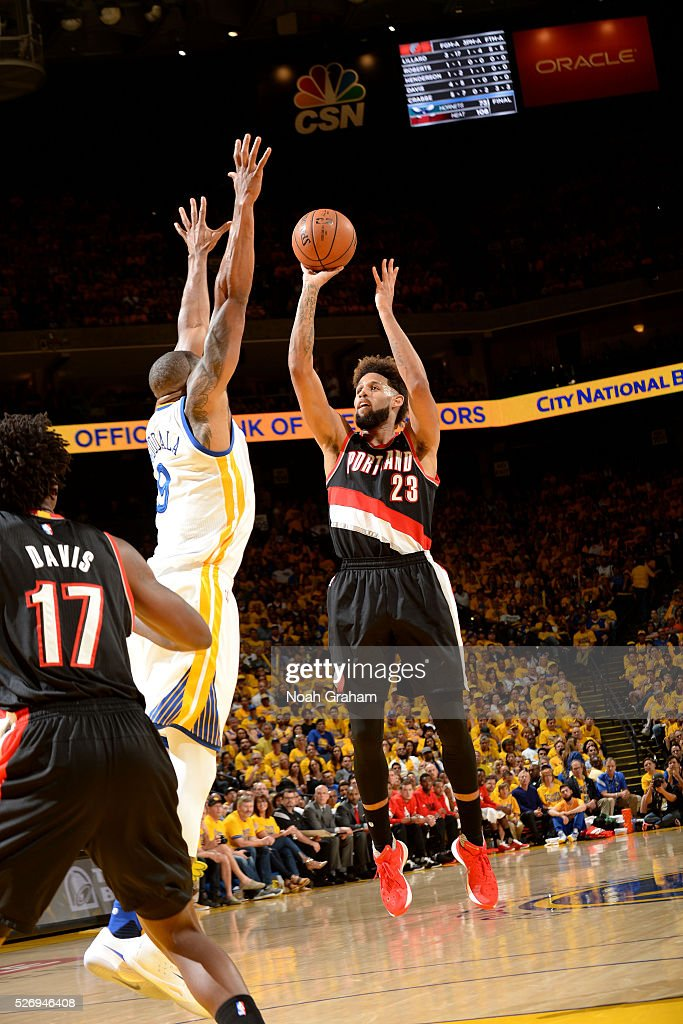 Allen Crabbe #23 of the Portland Trail Blazers shoots the ball during the game against the Golden State Warriors in Game One of the Western Conference Semifinals during the 2016 NBA Playoffs on May 1, 2016 at ORACLE Arena in Oakland, California.