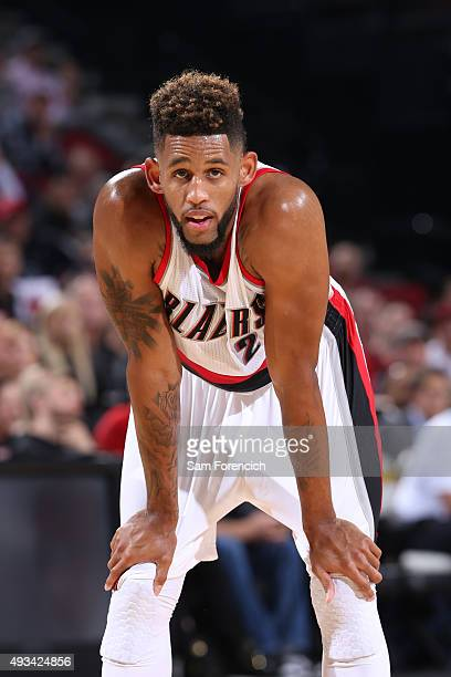 Allen Crabbe of the Portland Trail Blazers stands on the court against the Utah Jazz during a preseason game on October 18 2015 at the Moda Center...