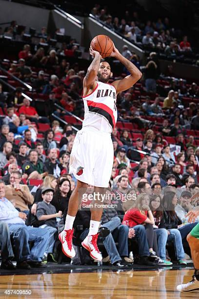 Allen Crabbe of the Portland Trail Blazers takes a shot against Maccabi Haifa on October 17 2014 at the Moda Center Arena in Portland Oregon NOTE TO...
