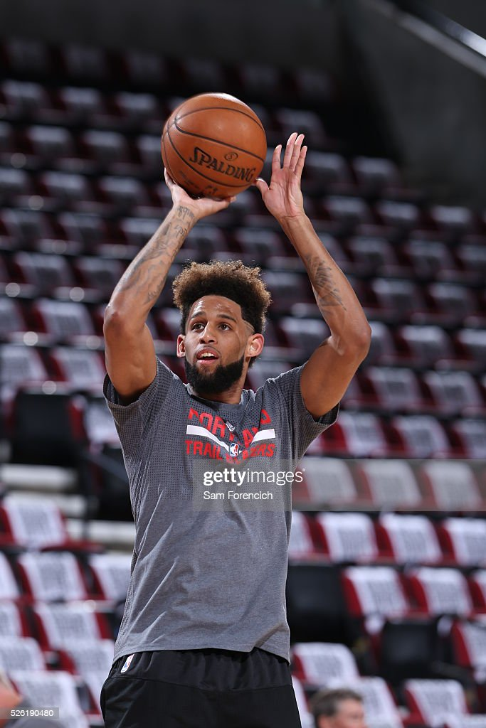 <a gi-track='captionPersonalityLinkClicked' href=/galleries/search?phrase=Allen+Crabbe&family=editorial&specificpeople=7447799 ng-click='$event.stopPropagation()'>Allen Crabbe</a> #23 of the Portland Trail Blazers warms up before the game against the Los Angeles Clippers in Game Six of the Western Conference Quarterfinals during the 2016 NBA Playoffs on April 29, 2016 at the Moda Center in Portland, Oregon.