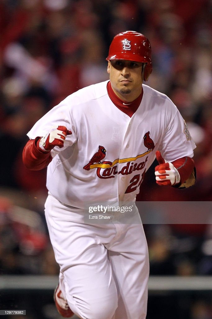 <a gi-track='captionPersonalityLinkClicked' href=/galleries/search?phrase=Allen+Craig&family=editorial&specificpeople=4405049 ng-click='$event.stopPropagation()'>Allen Craig</a> #21 of the St. Louis Cardinals celebrates after hitting an RBI single in the seventh inning during Game Two of the MLB World Series against the Texas Rangers at Busch Stadium on October 20, 2011 in St Louis, Missouri.