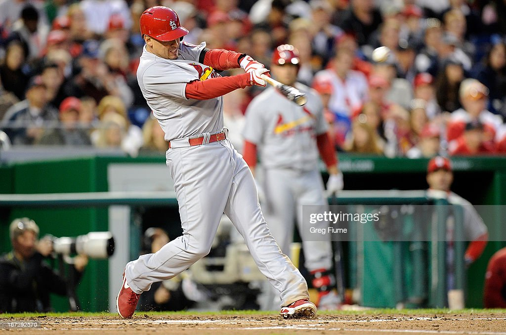 <a gi-track='captionPersonalityLinkClicked' href=/galleries/search?phrase=Allen+Craig&family=editorial&specificpeople=4405049 ng-click='$event.stopPropagation()'>Allen Craig</a> #21 of the St. Louis Cardinals hits a double in the fourth inning against the Washington Nationals at Nationals Park on April 23, 2013 in Washington, DC.