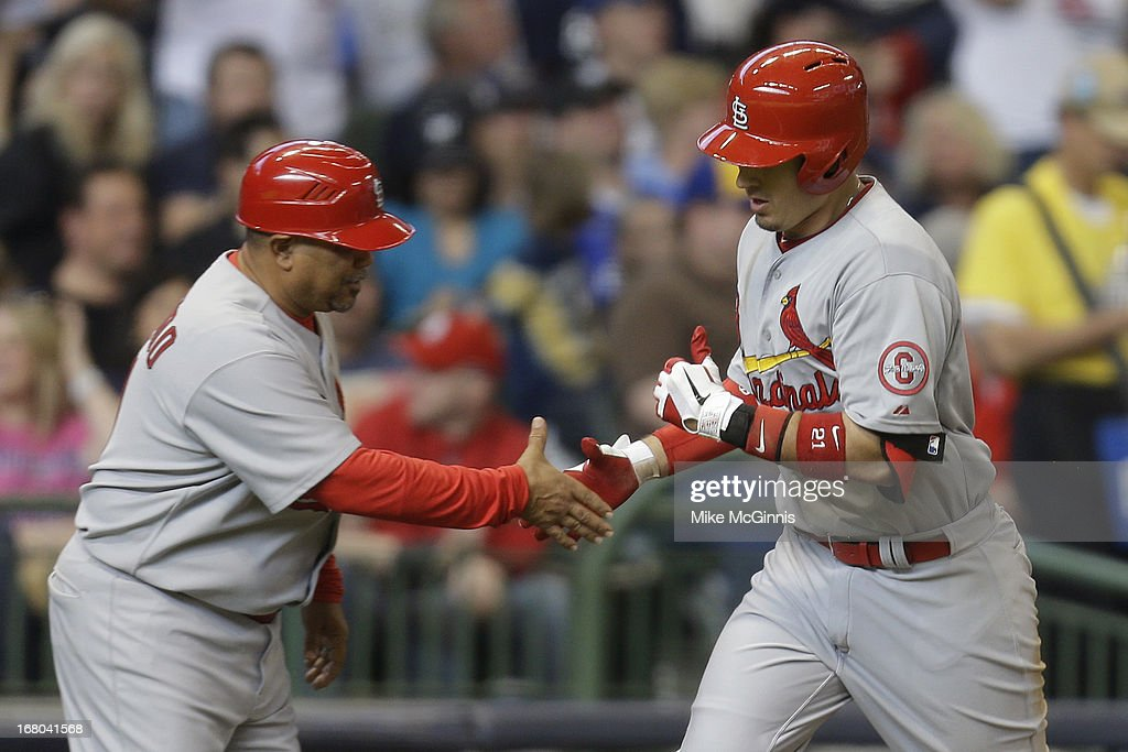<a gi-track='captionPersonalityLinkClicked' href=/galleries/search?phrase=Allen+Craig&family=editorial&specificpeople=4405049 ng-click='$event.stopPropagation()'>Allen Craig</a> #21 of the St. Louis Cardinals runs the bases after hitting a solo home run in the top of the sixth inning against the Milwaukee Brewers at Miller Park on May 04, 2013 in Milwaukee, Wisconsin.