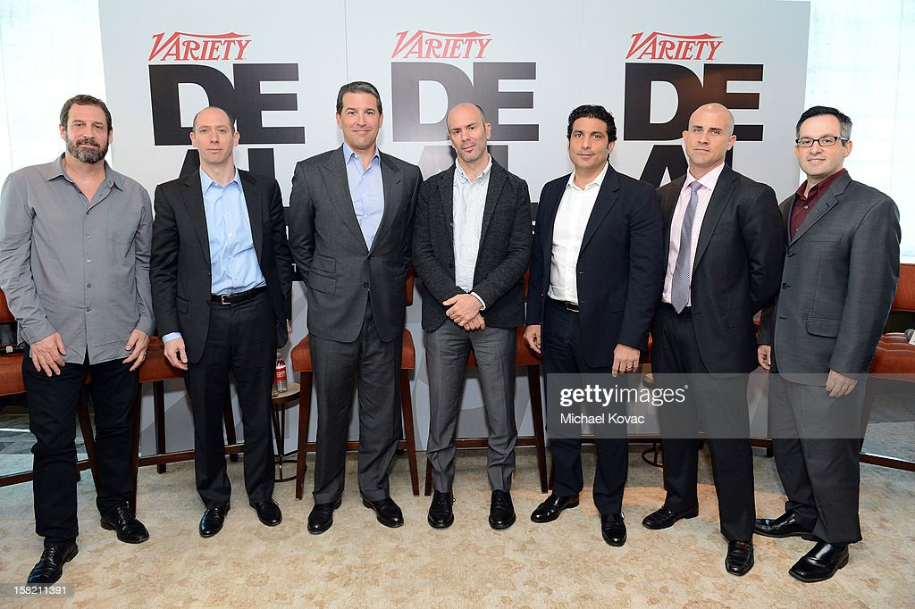 Allen DeBevoise, Machinima, Brian Goldsmith, Lionsgate, Josh Grode, Liner Grode Stein, Courtney Holt, Maker Studios, Scott Kiindel, CBS, Brian Stearns, Bank of America, and Andrew Wallenstein, TV Editor, Variety speak during Variety's Dealmakers Breakfast presented by Bank Of America at Soho House on December 11, 2012 in West Hollywood, California.