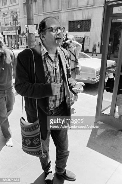 Allen Ginsberg demonstrating against the arrests of Living Theater Company members in Brazil San Francisco California 1971