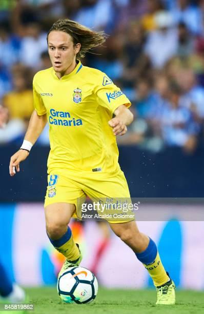 Allen Halilovic of Union Deportiva Las Palmas in action during the La Liga match between Malaga and Las Palmas at Estadio La Rosaleda on September 11...