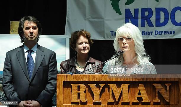 Allen Hershkowitz PhD Senior Scientist NRDC Frances Beinecke President NRDC andSinger/Songwriter Emmylou Harris addresses the press during the' Music...