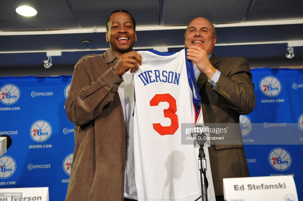 Allen Iverson and Ed Stefanski of the Philadelphia 76ers pose for a photo during the press conference on December 3, 2009 at the Wachovia Center in Philadelphia, Pennsylvania.