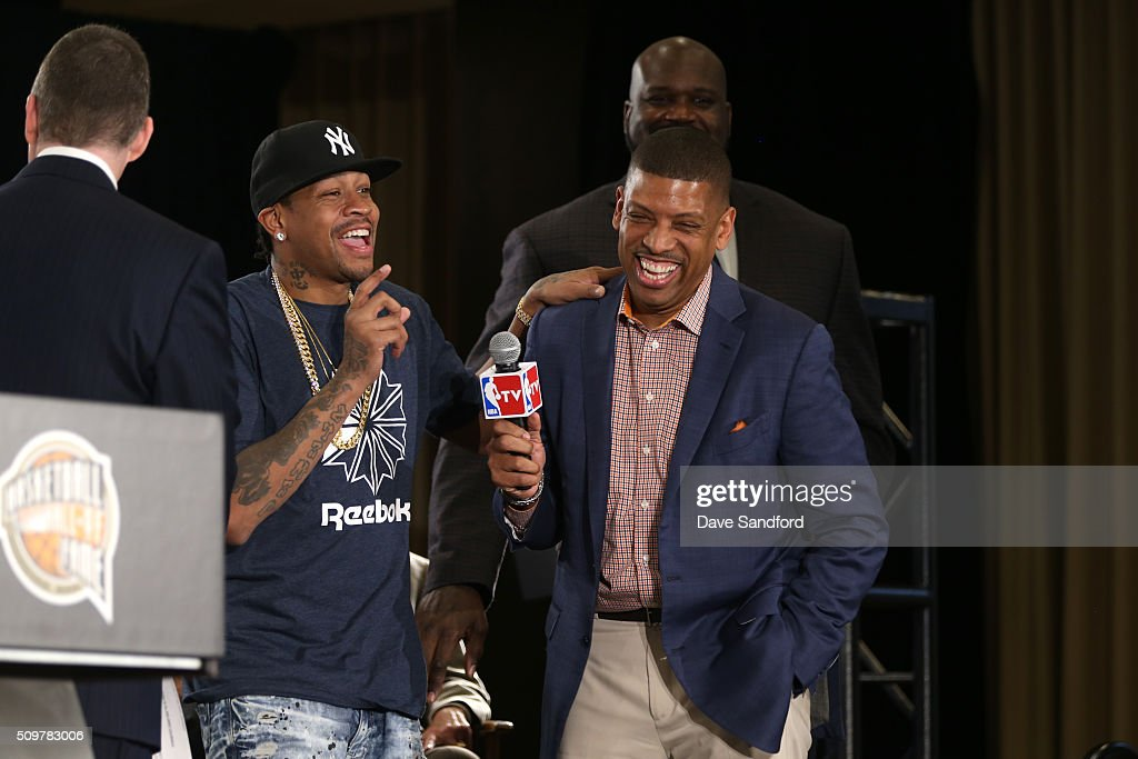 <a gi-track='captionPersonalityLinkClicked' href=/galleries/search?phrase=Allen+Iverson&family=editorial&specificpeople=201479 ng-click='$event.stopPropagation()'>Allen Iverson</a> and Kevin Johnson are announced as finalist for the Naismith Memorial Basketball Hall of Fame class of 2016 during the 2016 NBA All-Star Weekend at the Sheraton Centre Toronto Hotel on February 12, 2016 in Toronto, Ontario, Canada.