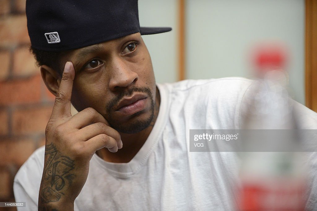 <a gi-track='captionPersonalityLinkClicked' href=/galleries/search?phrase=Allen+Iverson+-+Basketball+Player&family=editorial&specificpeople=201479 ng-click='$event.stopPropagation()'>Allen Iverson</a> attends a press conference ahead of a match during the US Pro-ball Legend China Tour 2012 at Kangzhuang Hotel on May 8, 2012 in Taiyuan, China.