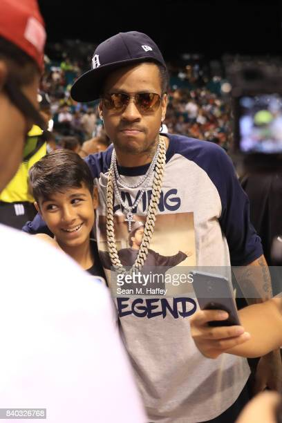 Allen Iverson attends the BIG3 three on three basketball league championship game on August 26 2017 in Las Vegas Nevada