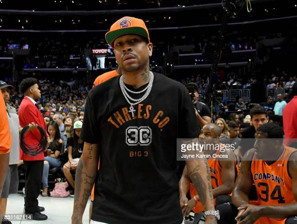 Allen Iverson captain of the Ball Hogs during the BIG3 game against 3's Company at Staples Center on August 13 2017 in Los Angeles California