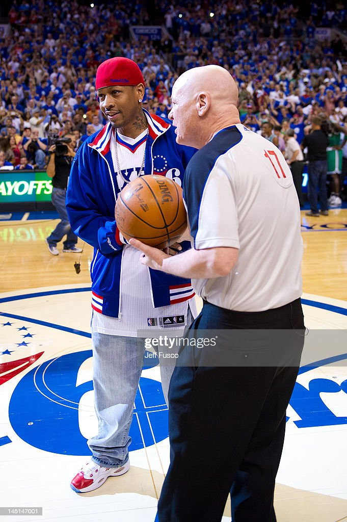 <a gi-track='captionPersonalityLinkClicked' href=/galleries/search?phrase=Allen+Iverson+-+Basketball+Player&family=editorial&specificpeople=201479 ng-click='$event.stopPropagation()'>Allen Iverson</a> (L) hands off a basketball to a referee at the Wells Fargo Center on May 23, 2012 in Philadelphia, Pennsylvania. Iverson's original Reebok Question re-launches Friday, May 25th for the first time since 1996.