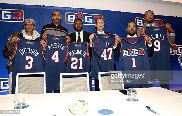 Allen Iverson Kenyon Martin Roger Mason Jr Jeff Kwatinetz Ice Cube and Rashard Lewis attend BIG3 Press Conference on January 11 2017 in New York City