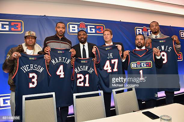 Allen Iverson Kenyon Martin Roger Mason Jr Jeff Kwatinetz Ice Cube and Rashard Lewis attend a press conference announcing the launch of the BIG3 a...