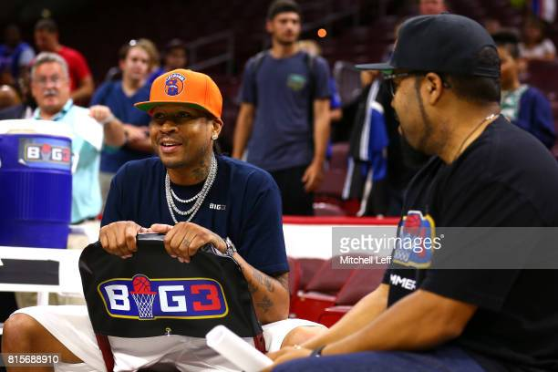 Allen Iverson of 3's Company and founder Ice Cube speak during week four of the BIG3 three on three basketball league at Wells Fargo Center on July...