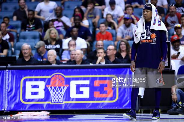 Allen Iverson of 3s Company looks on during the game against Trilogy during week three of the BIG3 three on three basketball league at BOK Center on...