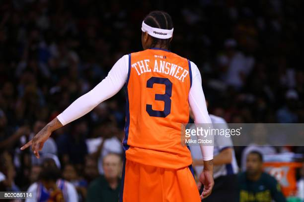 Allen Iverson of 3's Company looks on in the game against the Ball Hogs during week one of the BIG3 three on three basketball league at Barclays...
