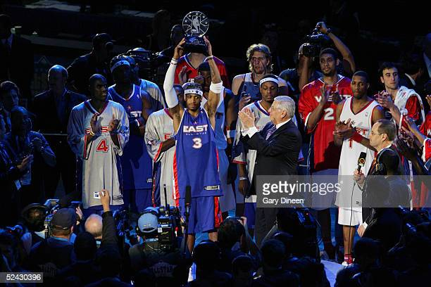 Allen Iverson of Eastern Conference AllStars receives the Most Valuable Player Trophy after winning the 54th AllStar Game against the Western...