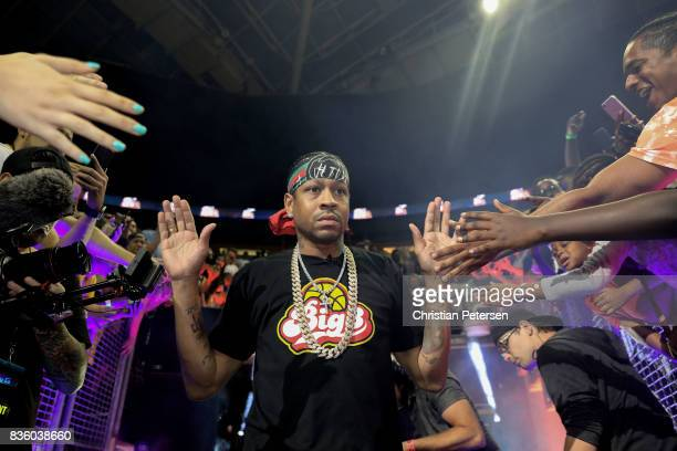Allen Iverson of the 3Õs Company high fives fans while being introduced in week nine of the BIG3 threeonthree basketball league at KeyArena on August...