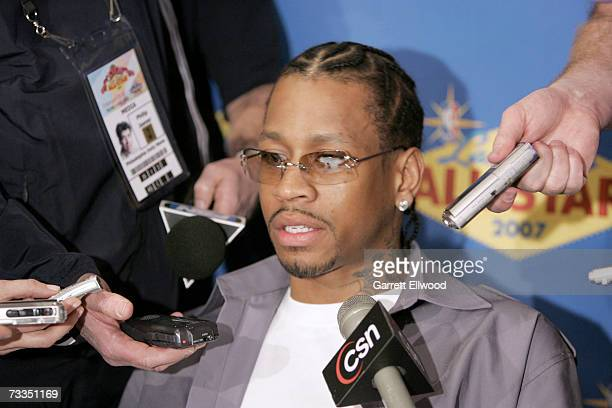 Allen Iverson of the Denver Nuggets addresses the media during All Star Media Availability at The Palms Resort and Casino February 16 2007 in Las...