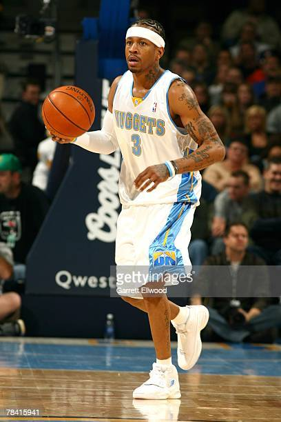 Allen Iverson of the Denver Nuggets brings the ball up court against the Minnesota Timerwolves during the game on November 23 2007 at the Pepsi...