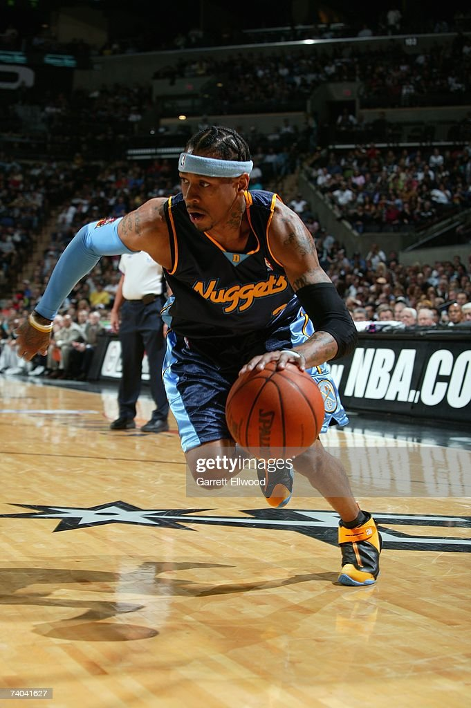 Allen Iverson #31 of the Denver Nuggets dribbles against the San Antonio Spurs in Game One of the Western Conference Quarterfinals during the 2007 NBA Playoffs at AT&T Center on April 22, 2007 in San Antonio, Texas. The Nuggets won 95-89.