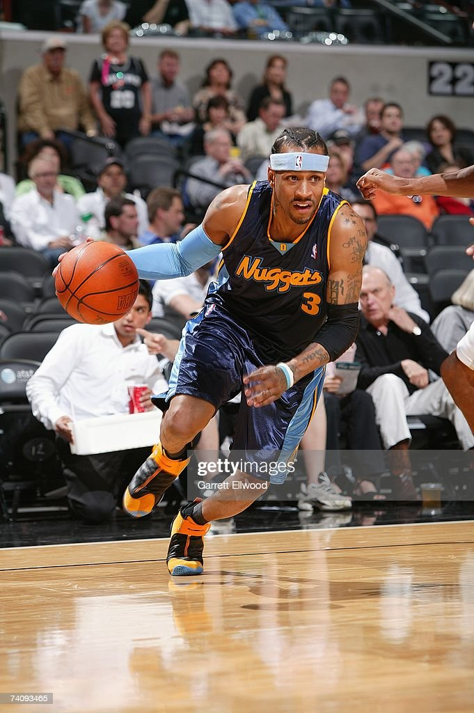 Allen Iverson #3 of the Denver Nuggets drives to the basket in Game Two of the Western Conference Quarterfinals against the San Antonio Spurs during the 2007 NBA Playoffs at AT&T Center on April 25, 2007 in San Antonio, Texas. The Spurs won 97-88.