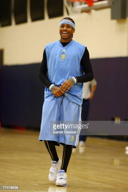 Allen Iverson of the Denver Nuggets during practice on October 19 2007 at the Pepsi Center in Denver Colorado NOTE TO USER User expressly...
