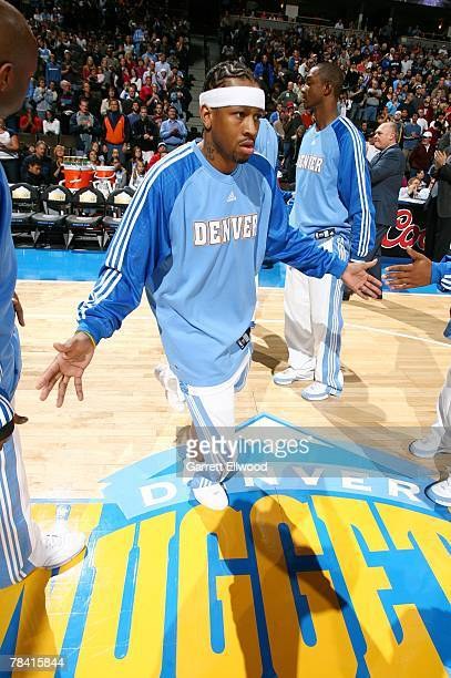 Allen Iverson of the Denver Nuggets is introduced prior to the game against the Minnesota Timerwolves on November 23 2007 at the Pepsi Center in...
