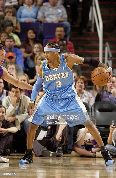 Allen Iverson of the Denver Nuggets moves the ball against the Phoenix Suns during the game at US Airways Center on March 30 2007 in Phoenix Arizona...