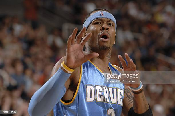 Allen Iverson of the Denver Nuggets on the court during a game against the Phoenix Suns at US Airways Center on March 30 2007 in Phoenix Arizona The...