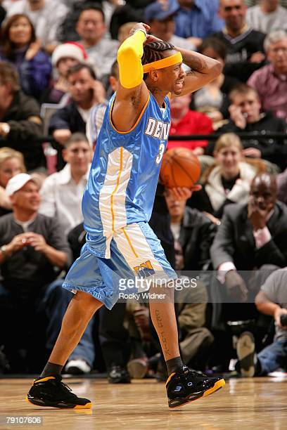 Allen Iverson of the Denver Nuggets reacts during the game against the Sacramento Kings on December 23 2007 at Arco Arena in Sacramento California...
