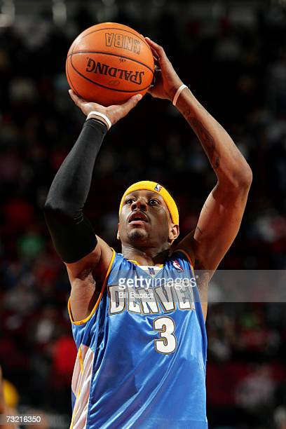 Allen Iverson of the Denver Nuggets shoots a free throw against the Houston Rockets during the game at the Toyota Center on January 20 2007 in...