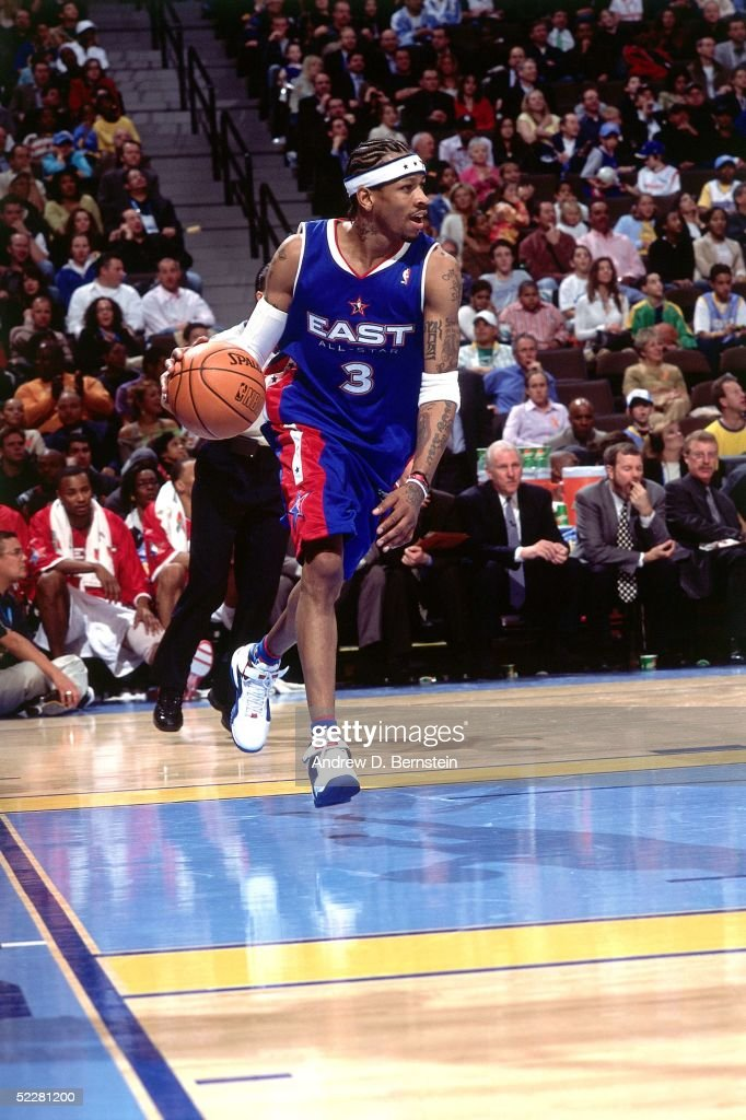 Allen Iverson #3 of the Eastern Conference All-Stars drives against the Western Conference All-Stars during the 2005 All-Star Game on February 20, 2005 at The Pepsi Center in Denver, Colorado.