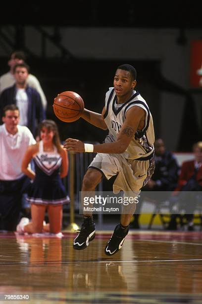 Allen Iverson of the Georgetown Hoyas dribbles the ball up court during a basketball game against the Boston College Eagles at USAir Arena on January...